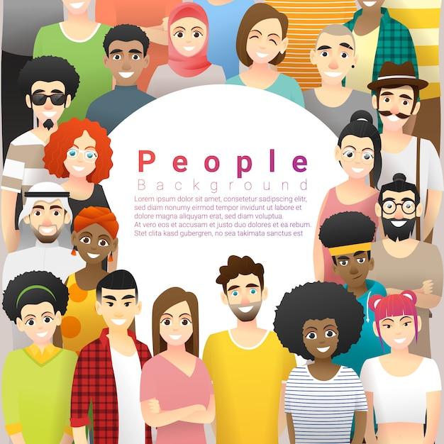 Verschiedenartigkeitskonzepthintergrund mit textschablone, gruppe glückliche multi ethnische leute, die zusammen stehen Premium Vektoren