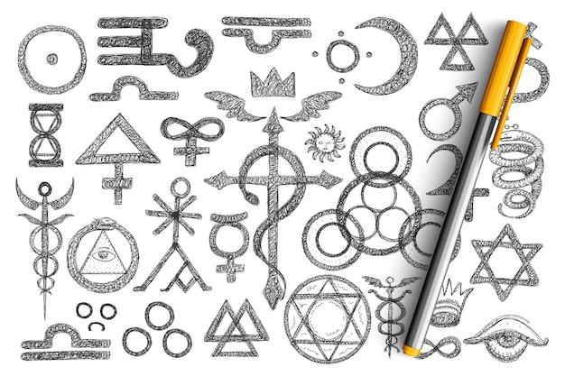 Verschiedene alchemistische symbole kritzeln. sammlung von handgezeichneten berberitzen himbeere, pfeilwurzel, kamille, hunderose, aloe, adonis, zapfen linde andere pflanzen mit namen isoliert Premium Vektoren