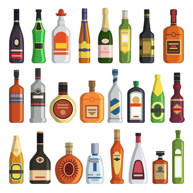 Verschiedene alkoholische getränke in flaschen Premium Vektoren