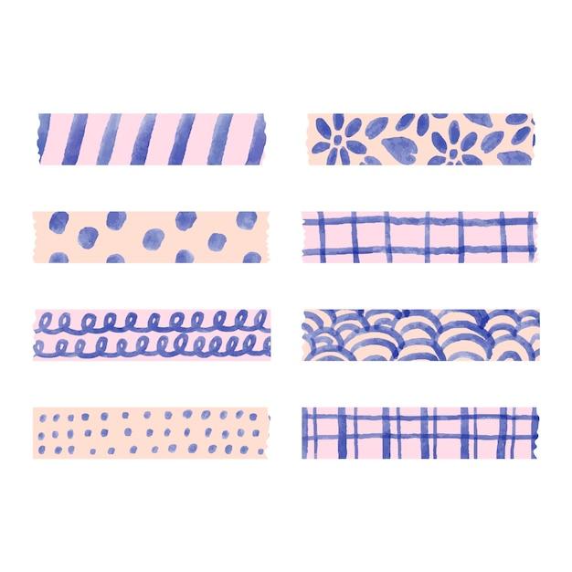 Verschiedene aquarell washi tapes pack Kostenlosen Vektoren