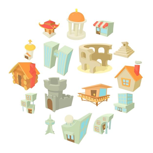 Verschiedene architekturikonen eingestellt, karikaturart Premium Vektoren
