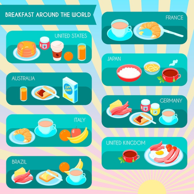 Verschiedene arten des frühstücks in der weltinfographic gesetzten vektorillustration Kostenlosen Vektoren