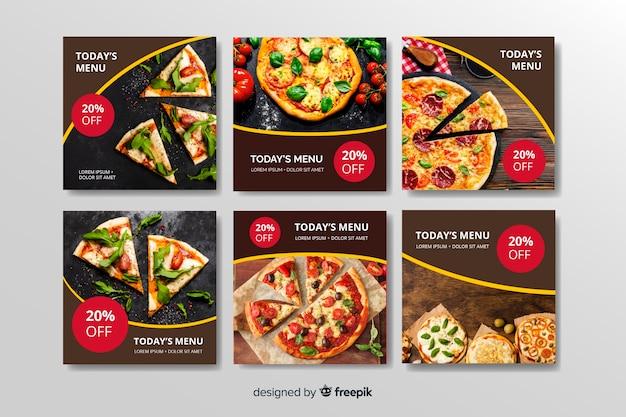Verschiedene arten instagram beitragssammlung der pizza Kostenlosen Vektoren