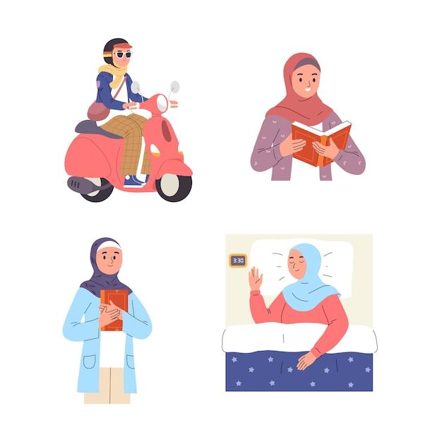 Verschiedene arten von aktivitäten von jungen frauen, die hijab tragen, auf einem roller fahren, schlafen, lesen und lernen Premium Vektoren