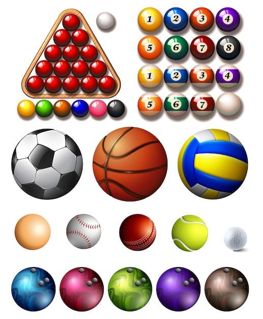 Verschiedene arten von bällen vieler sportarten Kostenlosen Vektoren