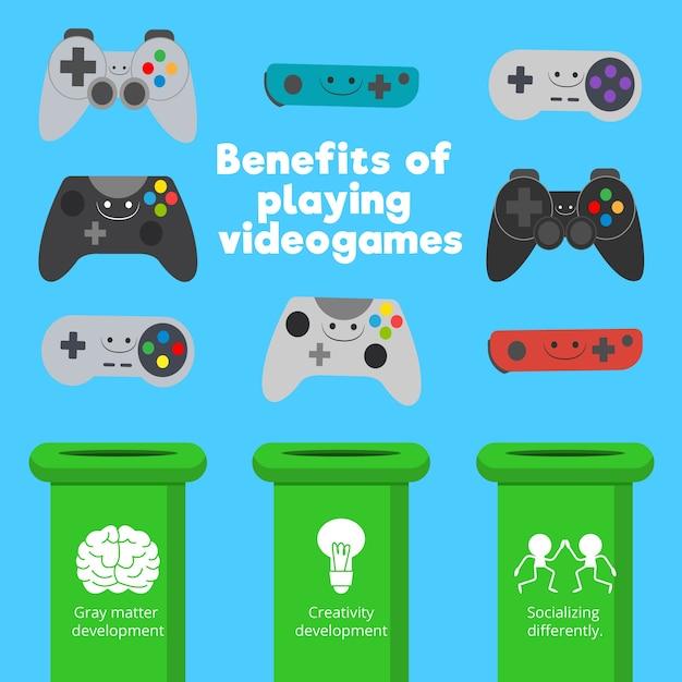 Verschiedene arten von gamecontrollern und spielfähigkeiten Kostenlosen Vektoren