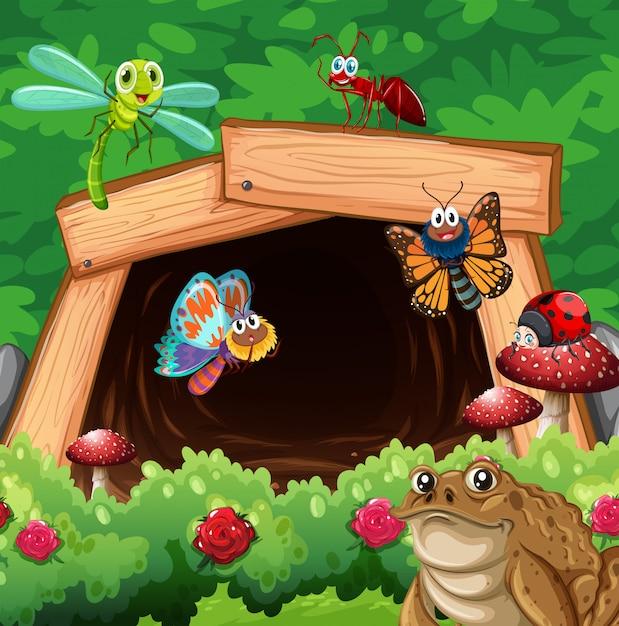Verschiedene arten von insekten vor dem tunnel Kostenlosen Vektoren