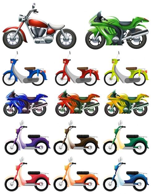 Verschiedene arten von motocycles abbildung Kostenlosen Vektoren
