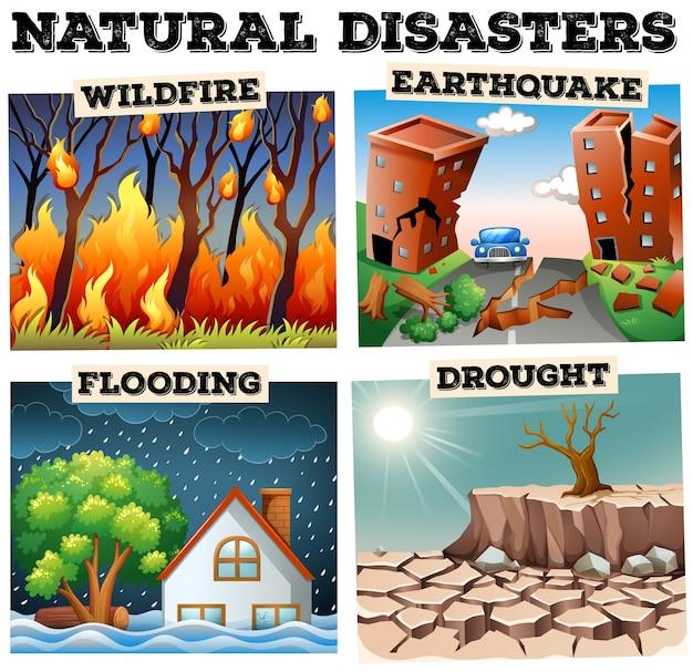Verschiedene arten von naturkatastrophen Premium Vektoren
