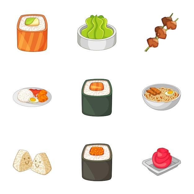 Verschiedene arten von sushi-set Premium Vektoren