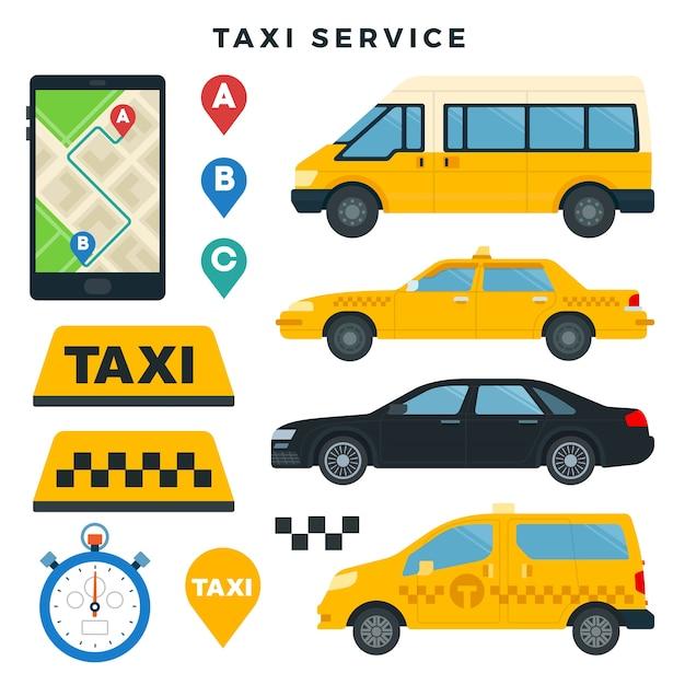 Verschiedene arten von taxis und taxischildern Premium Vektoren