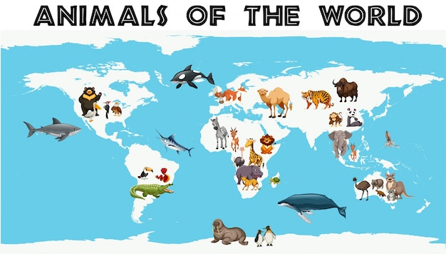 Verschiedene arten von tieren auf der ganzen welt auf der karte Kostenlosen Vektoren