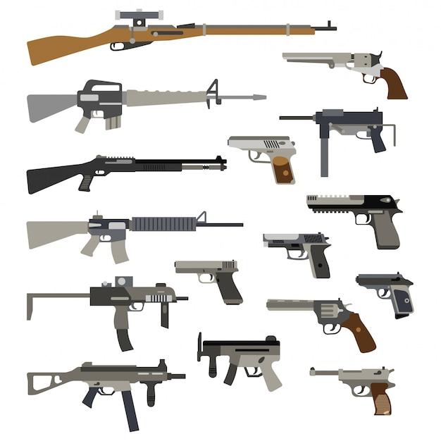Verschiedene automatische waffen. vektorabbildung der gewehre und der pistolen Premium Vektoren