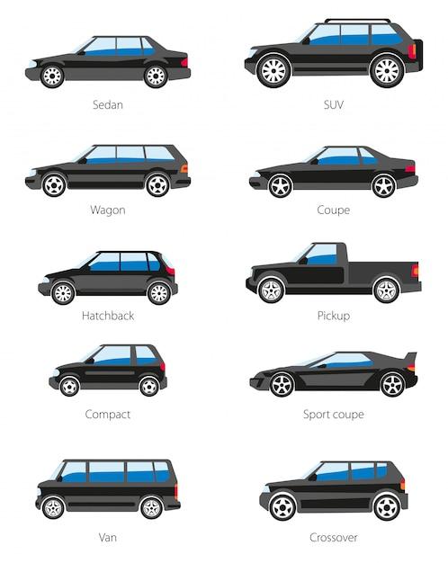 Verschiedene autotypenikonen eingestellt Premium Vektoren