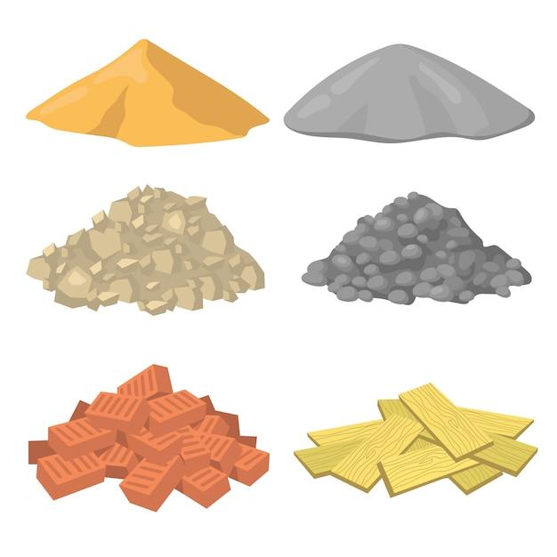 Verschiedene baumaterialstapel flache symbolsatz Kostenlosen Vektoren