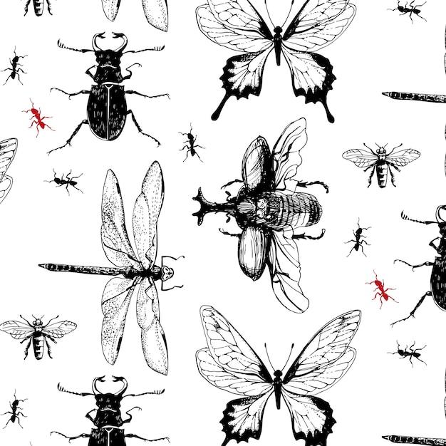 Verschiedene bugs im muster Kostenlosen Vektoren