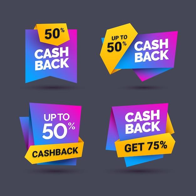 Verschiedene cashback-labels Kostenlosen Vektoren