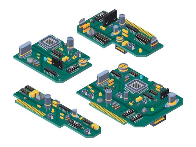 Verschiedene computerplatinen mit halbleitern, kondensator und chips Premium Vektoren