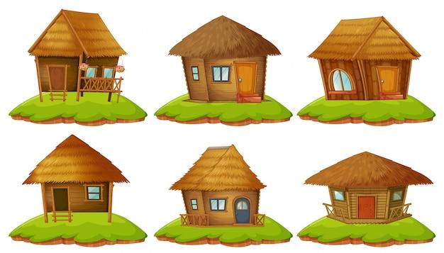 Verschiedene designs von holzhütten Premium Vektoren