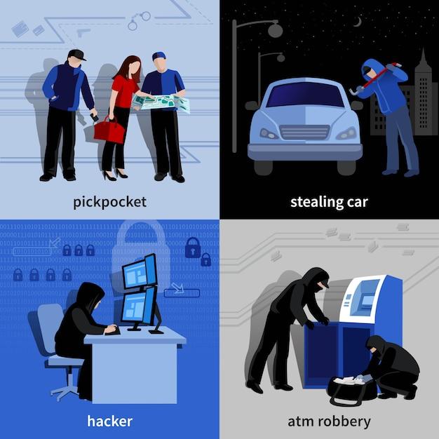 Verschiedene einbrecher und verbrecher, die verbrechensebene begehen, lokalisierten elemente und charaktere stellten vektorillustration ein Kostenlosen Vektoren