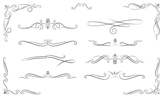 Verschiedene elegante ornamente im vintage-stil Premium Vektoren