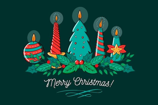 Verschiedene entwürfe für kerzen der frohen weihnachten Kostenlosen Vektoren
