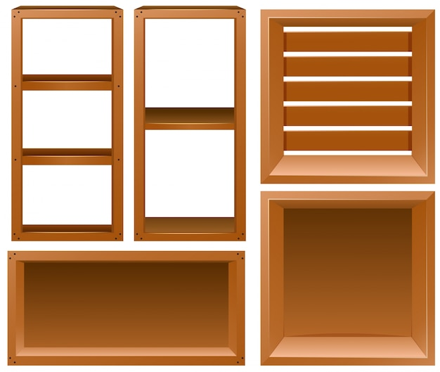 Verschiedene Entwürfe von Holzregalen Kostenlose Vektoren