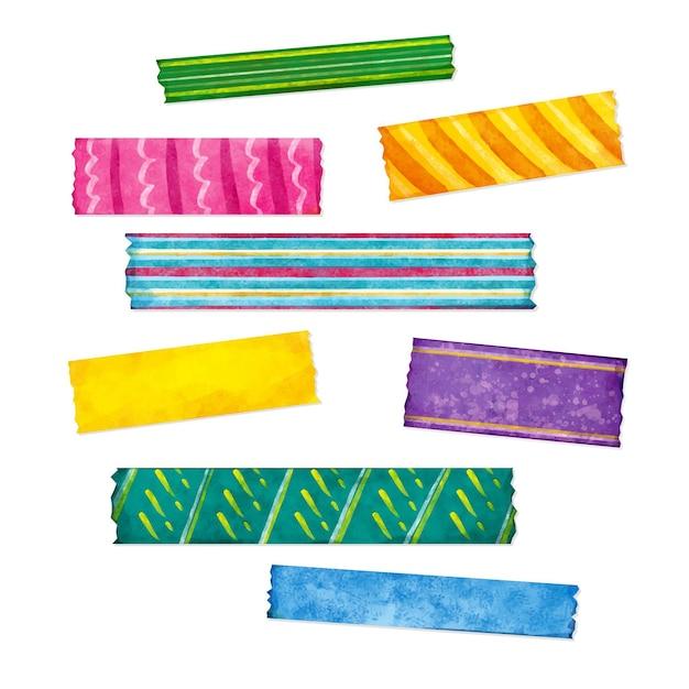 Verschiedene farben aquarell washi tapes set Premium Vektoren
