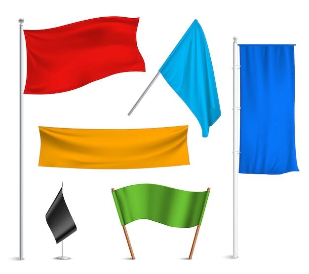 Verschiedene farben flaggen und banner piktogramme sammlung Kostenlosen Vektoren