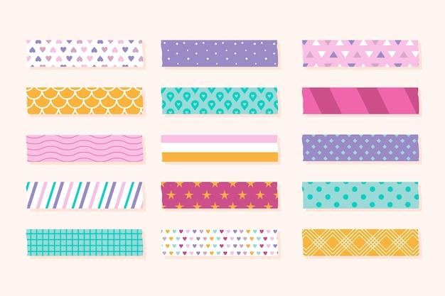 Verschiedene farbige flache washi-bänder Kostenlosen Vektoren