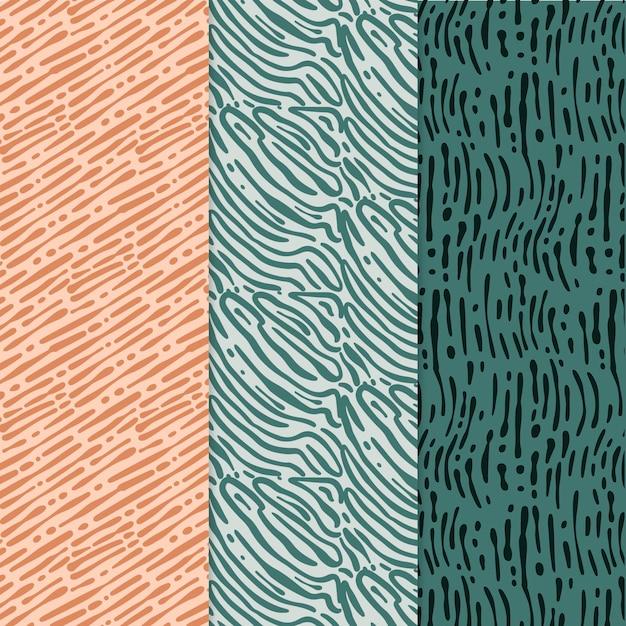 Verschiedene farbige musterkollektionen mit abgerundeten linien Kostenlosen Vektoren