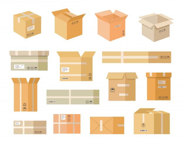 Verschiedene flache icon-sets aus pappkartons Kostenlosen Vektoren