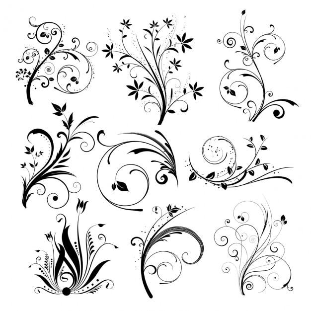 Verschiedene florale dessins Kostenlosen Vektoren