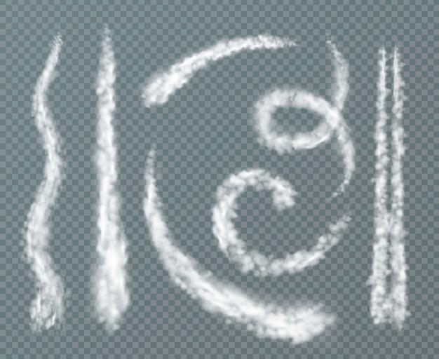 Verschiedene formen kondensstreifen realistisch mit spiralförmigen doppellinie gesetzt Kostenlosen Vektoren