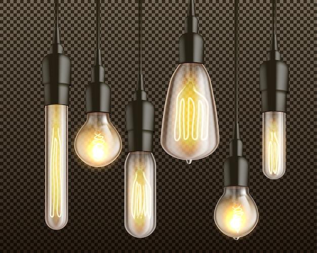 Verschiedene formen und retro- weißglühende glühlampen der formen mit dem heizdrahtfaden, der von oben genanntem im realistischen lokalisierten vektorsatz der schwarzen lampenfassungen 3d hängt Kostenlosen Vektoren