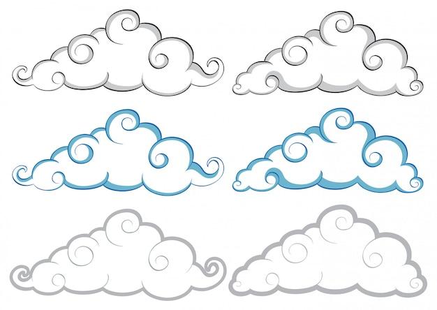 Verschiedene formen von wolken auf weißem hintergrund Kostenlosen Vektoren