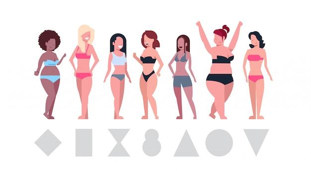 Verschiedene frauen tragen bikinis Premium Vektoren