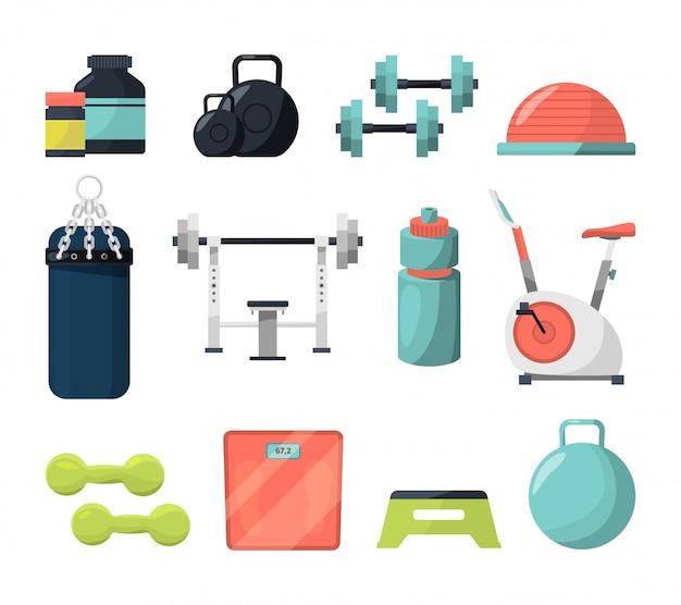 Verschiedene geräte für das fitnessstudio. Premium Vektoren