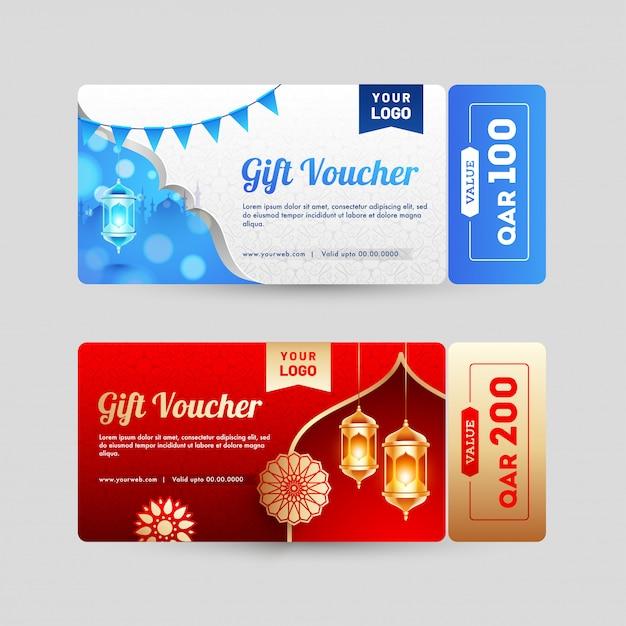 Verschiedene gestaltung von geschenkgutschein oder gutschein layout mit verschiedenen o Premium Vektoren