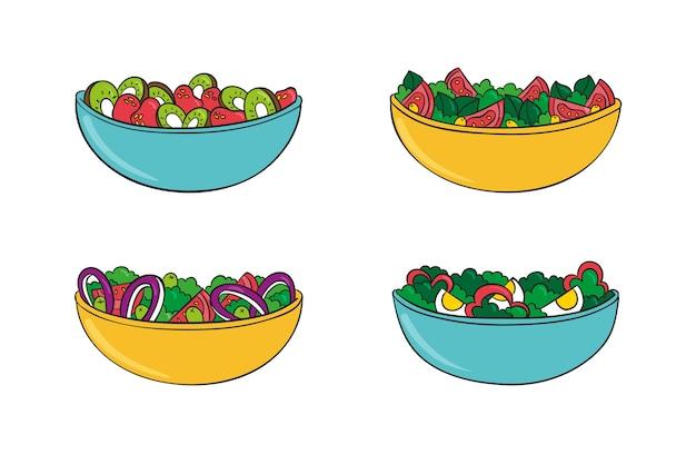 Verschiedene gesunde obst- und salatschalen Kostenlosen Vektoren