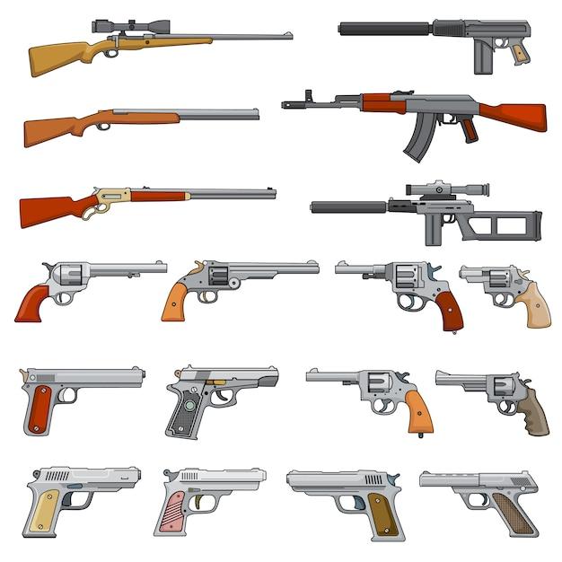 Verschiedene gewehr-, gewehr- und pistolenkarikaturvektorwaffenikonen Premium Vektoren