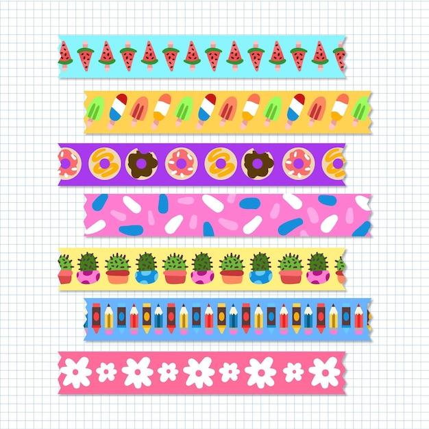 Verschiedene gezeichnete washi tapes pack Kostenlosen Vektoren