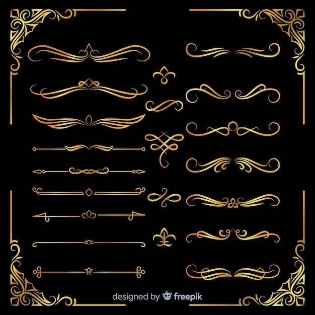 Verschiedene goldene ornamente packen Kostenlosen Vektoren