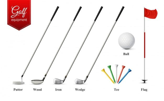 Verschiedene golfausrüstungssätze mit verschiedenen arten von vereinen tee ball und flagge realistische isolierte vektorillustration Kostenlosen Vektoren