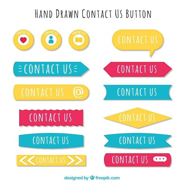 Verschiedene hand gezeichnet kontaktknöpfe Kostenlosen Vektoren