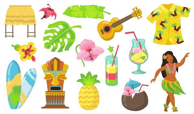 Verschiedene hawaii-symbole flacher symbolsatz Kostenlosen Vektoren
