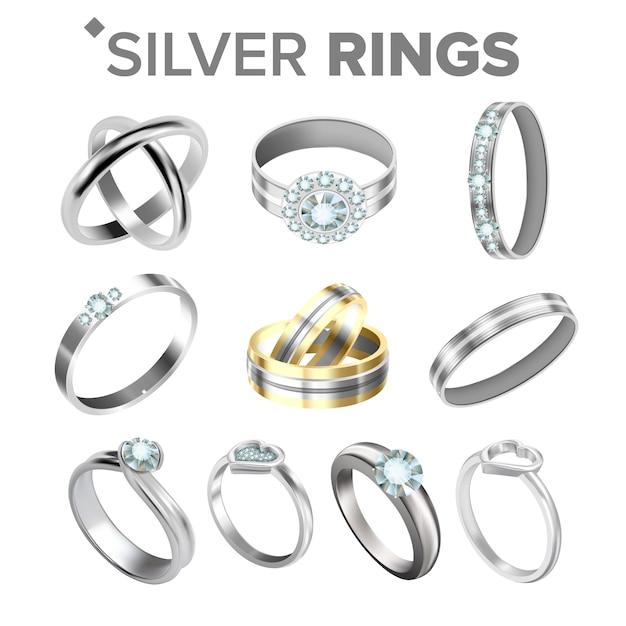 Verschiedene helle silberne metallische ringe Premium Vektoren