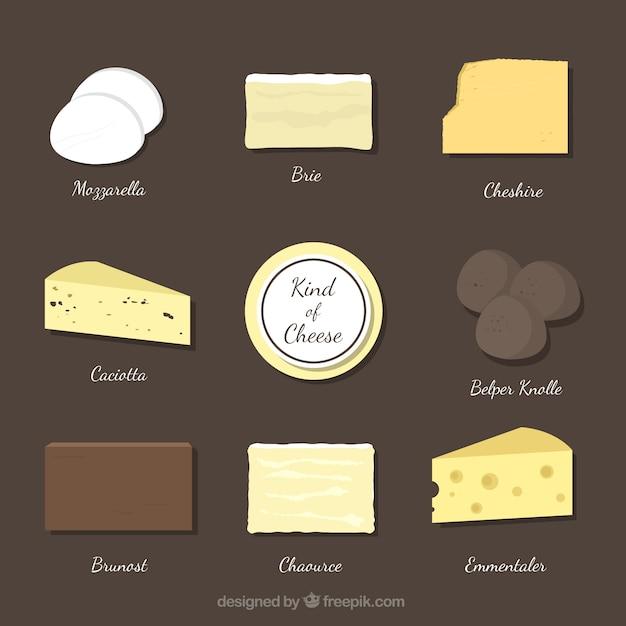 Verschiedene käsesorten Kostenlosen Vektoren