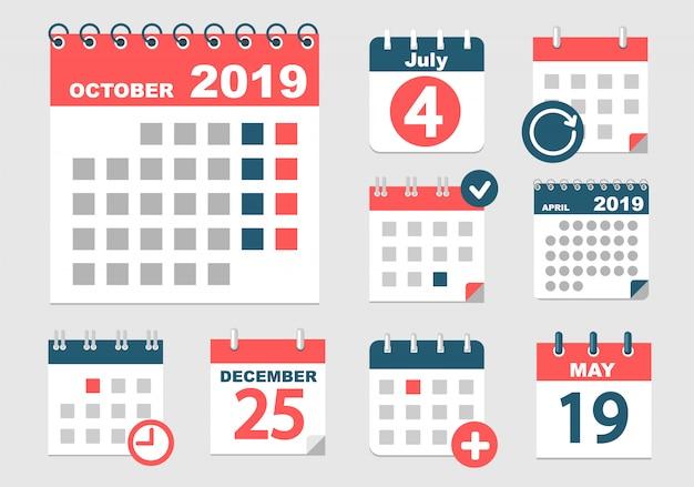Verschiedene kalender mit verschiedenen optionen für 2018 Premium Vektoren