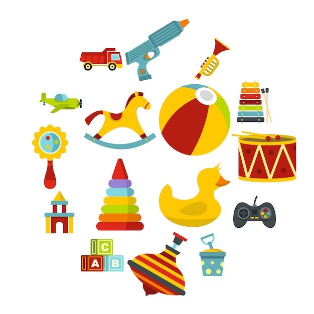 Verschiedene kinderspielzeugikonen eingestellt in flache art Premium Vektoren